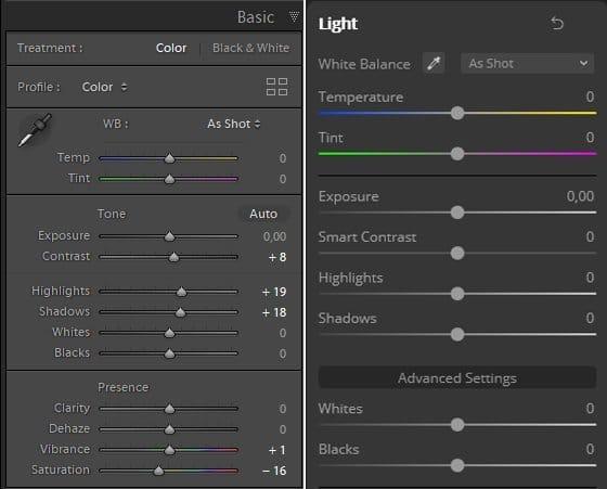 Lightroom vs Luminar 4 Basic panel
