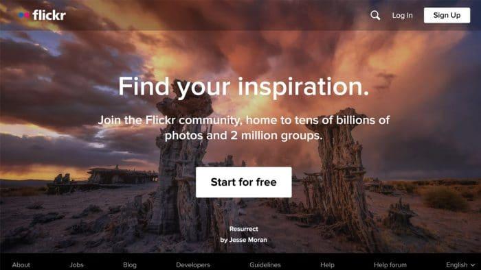 Flickr interface