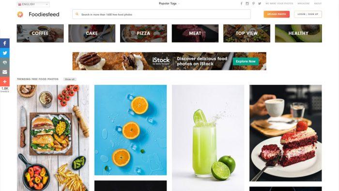 Foodiesfeed interface