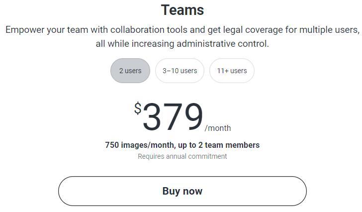 Shutterstock Multi user pricing