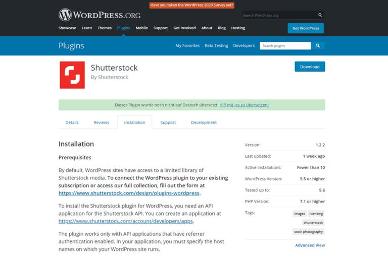 Shutterstock plugin thumbnail