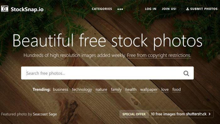 Stocksnap interface