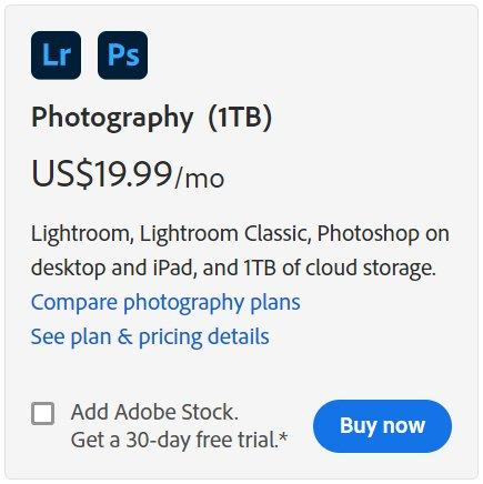 Buy Lightroom Photography plan 1TB