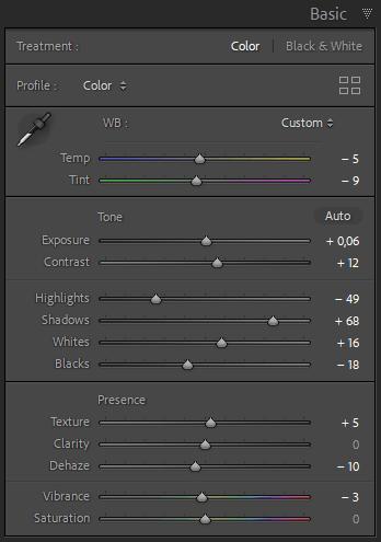 Lightroom Editing sliders