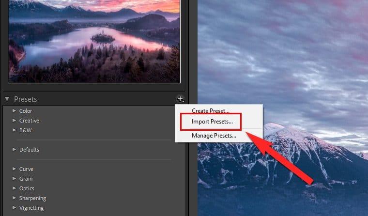 Lightroom Presets Windows - Import Presets