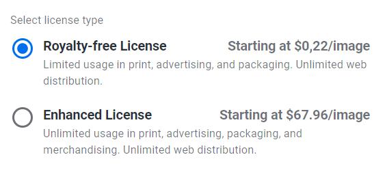 Royalty-free license vs Enhanced license