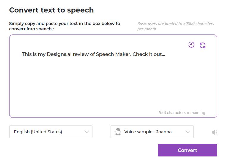 Designs.ai speech maker