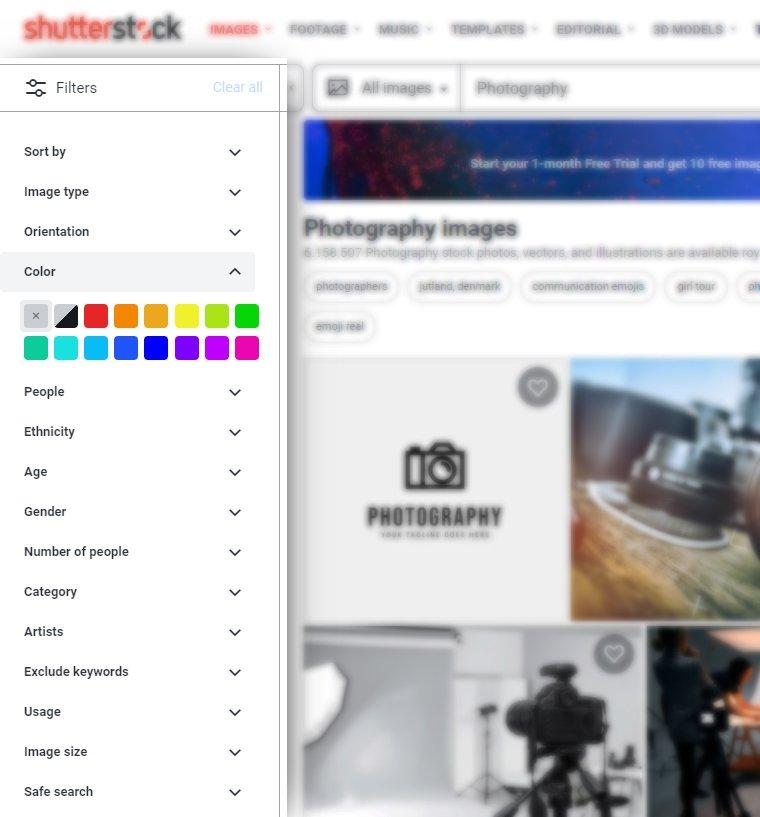 Shutterstock filters