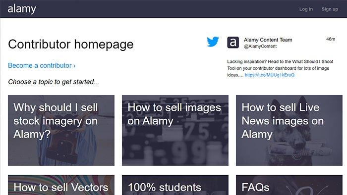Alamy contributor interface