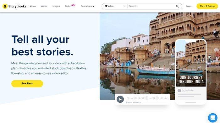 Storyblocks interface