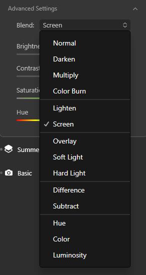 Blending modes in Luminar AI
