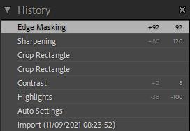 Screenshot of edit history in Lightroom